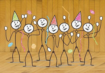 viering met mensen - nieuw jaar, verjaardag of kerst Stock Illustratie