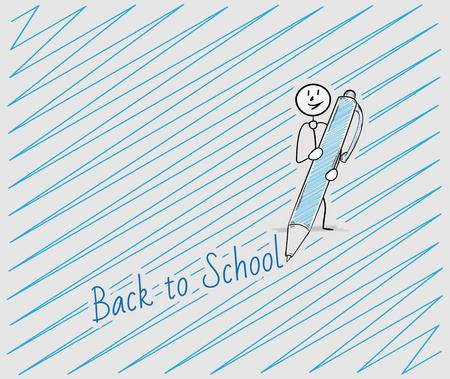 one person: back to school text written by pen and one person, crosshatched image