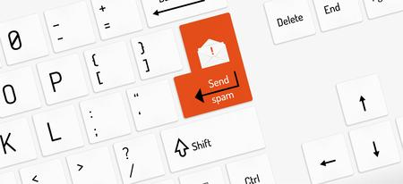 function key: white keyboard with red send spam key and envelope Illustration