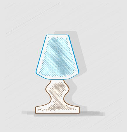 wooden lamp with blue lampshade for bedroom table, crosshatched image Illustration