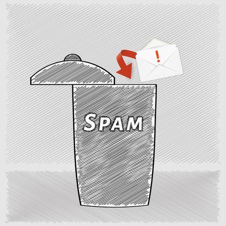 crosshatched: trash for mail messages and envelope, crosshatched image