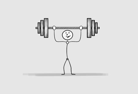 heavy: one happy man with large heavy dumbbell