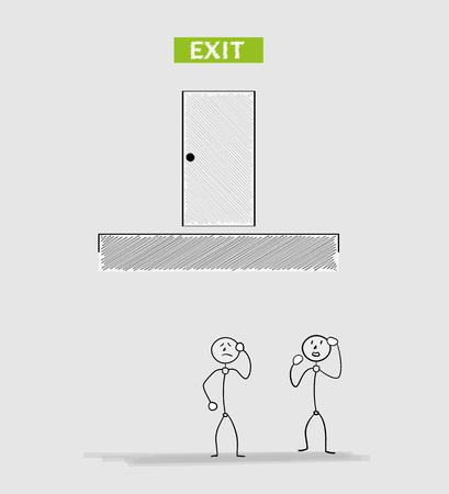 intractable: exit closed door in top with two people in trap and no way to exit, crosshatched image Illustration