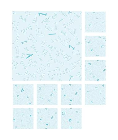 0 9: collection of the seamless pattern with different numbers 0 - 9