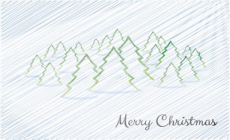 crosshatched: merry christmas card with blue crosshatched background and trees Illustration