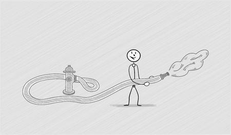 crosshatched: fire hydrant with one person, crosshatched image Illustration