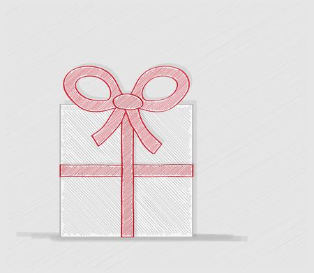 crosshatched: wrapped gift or gift card with red ribbon on white background, crosshatched image