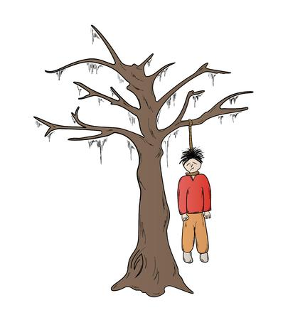 capital punishment: hangman and the tree on white background, sketch, isolated Illustration