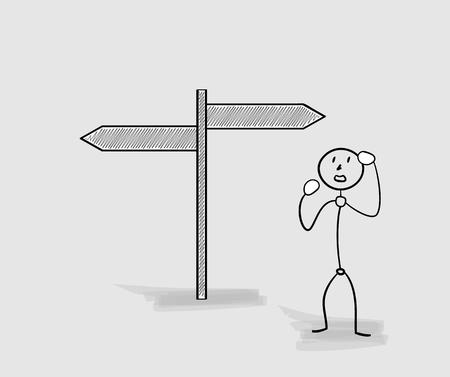choose a path: confused man and two different arrows on gray background Illustration