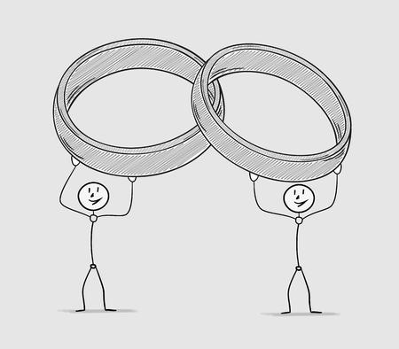 crosshatched: two persons holding wedding rings over their head, crosshatched image Illustration