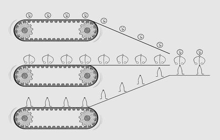 belts: three conveyor belts and parts of people, putting parts together, crosshatched image