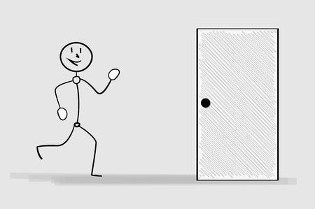 crosshatched: one happy running man and door, crosshatched image