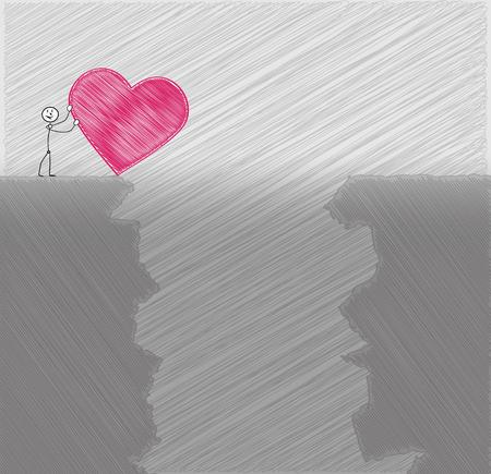friendless: sad man rolls his heart to abyss, crosshatched image Illustration
