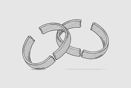 broken ring as a symbol for end of love and divorce of two people, crosshatched image