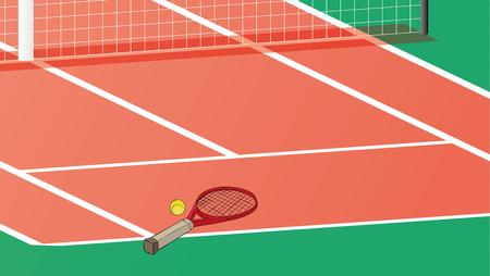 racquet: tennis racquet and ball on the tennis court with net