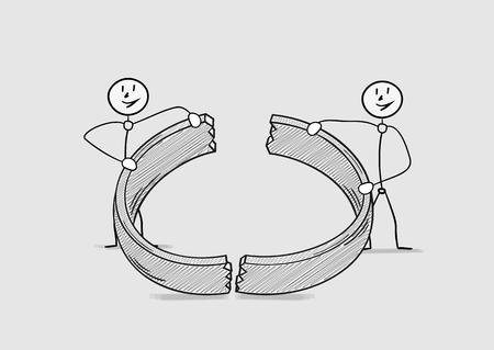 broken unity: broken ring as a symbol for end of love and divorce of two people, crosshatched image