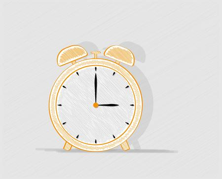 crosshatched: alarm clock with shadow on gray background, crosshatched image