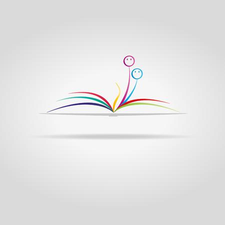 literate: abstract open book with color sheets and faces