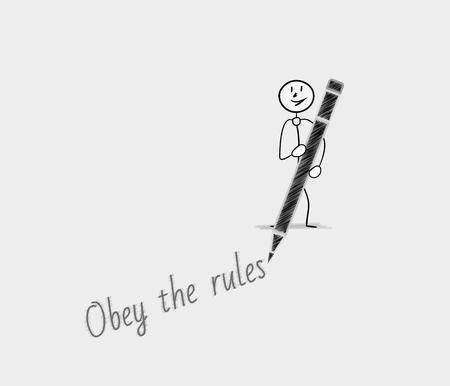 obey: obey the rules text written by man with pen