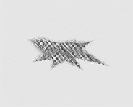 big break: large black hole in gray paper background, crosshatched image