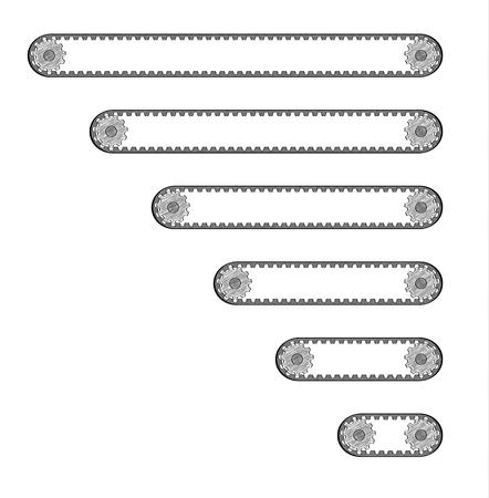 six conveyor belts with different length with two cogwheels, crosshatched image Stock Illustratie