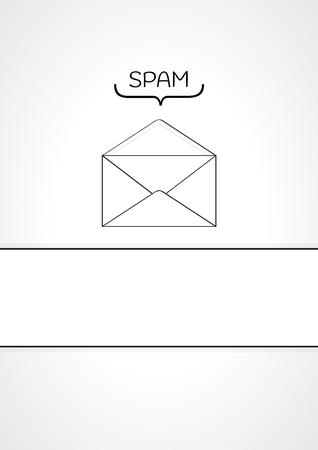 whit: spam envelope on gray gradient background and blank whit label Illustration