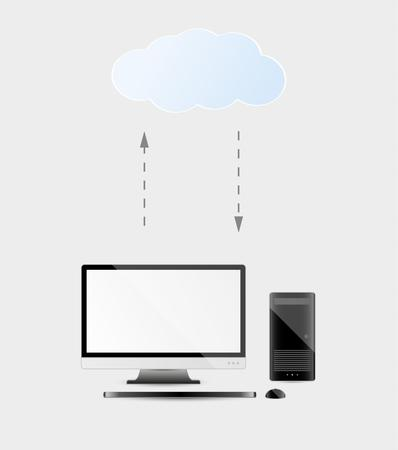 accessing: personal computer with cloud services and arrows as a symbol of uploading and downloading Illustration