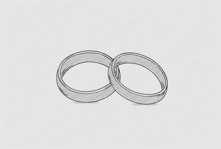 crosshatched: two wedding rings as a symbol of love, crosshatched image