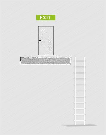 crosshatched: exit text, closed door in top and ladder, crosshatched image Illustration