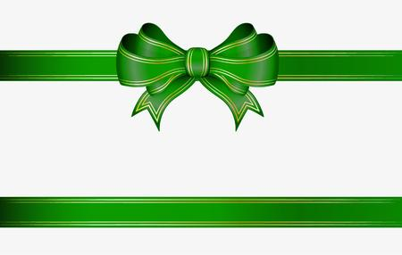 green ribbon and elegant bow with gold lines