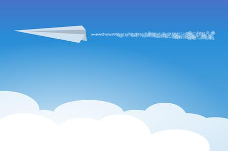 paper airplane: white paper airplane in clouds on blue sky Illustration