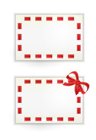 stitched: stitched paper card with red ribbon and bow Illustration