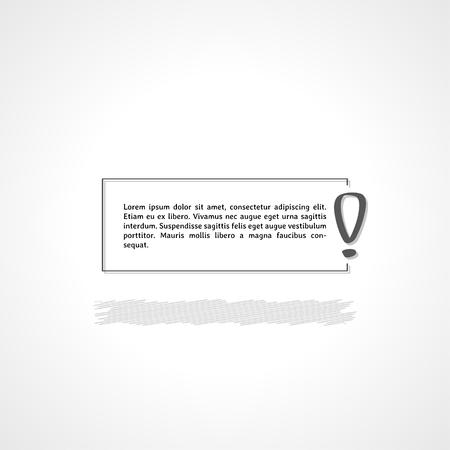 exclamation mark: exclamation mark and text box on gray gradient background