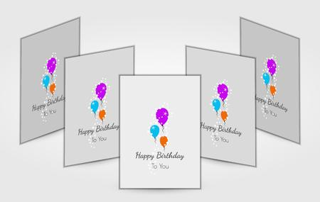 birthday cards: five birthday cards with three color balloons and wish for birthday