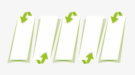 green arrows: green arrows and blank papers with shadow on gray background