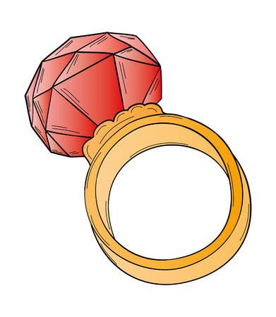 gold ring: gold ring with big red cut stone