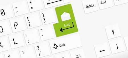 function key: white keyboard with green send key and envelope