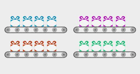 assembly line: four conveyer belts and gifts with different color, isolated