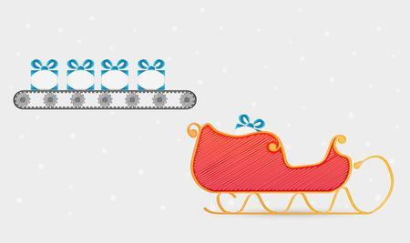 conveyor belt: conveyor belt with presents and santas sleigh