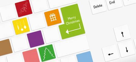 teclado numerico: teclado blanco con teclas de Navidad con símbolos de la Navidad