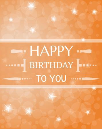shinning: shinning happy birthday illustration on orange background Illustration