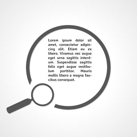 magnyfying glass: magnifying glass symbol and circle on gray gradient background