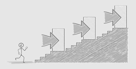 escalera: un hombre feliz corriendo y tres puertas, escaleras, la imagen sombreada Vectores