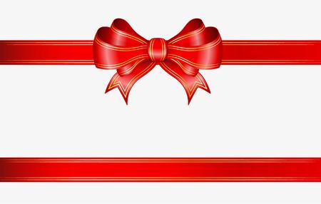 red ribbon and elegant bow with gold lines