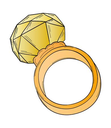 gold ring: gold ring with big yellow cut stone Illustration