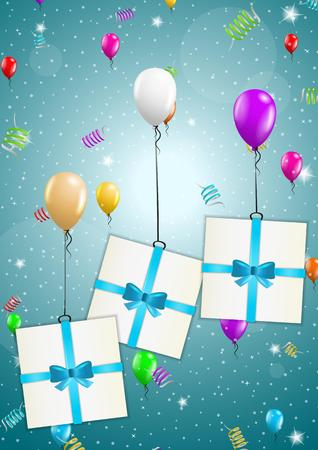 felicitate: three color flying balloons with presents on festive blue background Illustration