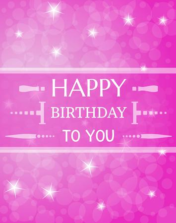 violet card with wist to happy birthday with shinning stars
