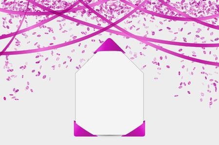 event party festive: blank card with violet falling confetti and ribbons