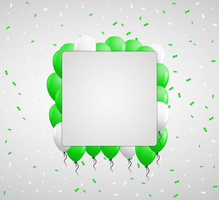 green balloons: green balloons and color confetti with blank square paper in center