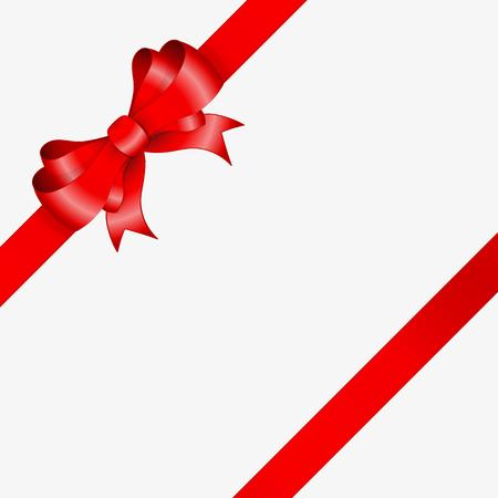 red ribbon and elegant bow in corner of the image